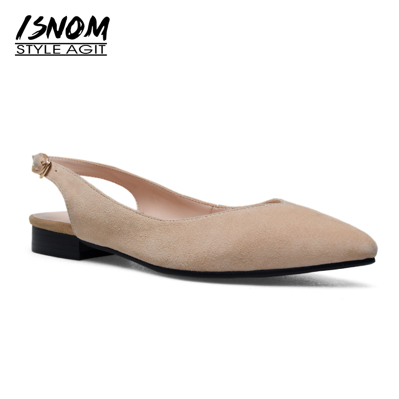 ISNOM 2018 Thick Heels Sandals Women Square Heels Kid Suede Pointed Toe Footwear Summer Fashion Dress Female Back Strap Shoes isnom summer high heels sandals women kid suede square heels buckle open toe back strap footwear office 2018 brand ladies shoes