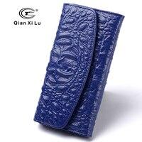 New Brand Designer Women Purses Genuine Cow Leather Female Wallets Alligator Blue Billfold Red And Black