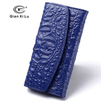 New Brand Designer Women Purses Genuine Cow Leather Female Wallets Alligator Blue Billfold Red And Black