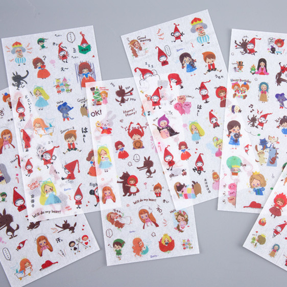 6 Sheets/pack Fairy World Stickers Set Decorative Stationery Stickers Scrapbooking DIY Diary Album Stick Label