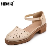 KemeKiss Size 34 43 Women Sweet Color High Heel Sandals Ankle Strap Round Toe Thick Heel