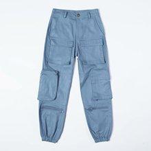 Moda negro de cintura alta pantalones de las mujeres pantalones de carga Streetwear suelto larga de algodón pantalones Capri mujer pantalones de chándal 2019