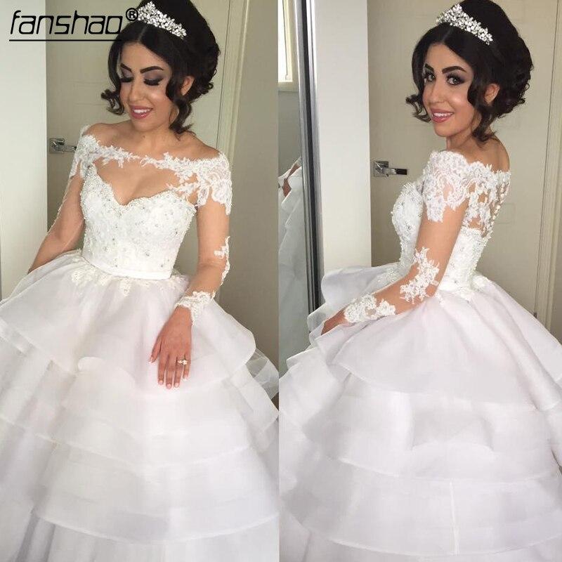 2019 Muslim Wedding Dresses Boat Neck Long Sleeves Lace Ruffles Illusion Vestido De Noiva Boho Dubai Arabic Wedding Gown Bridal