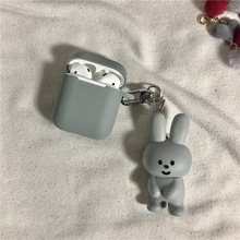 Cute Cartoon Rabbit Doll Keychain Wireless Bluetooth Earphone Case for Airpods Protective Cover Keyrings
