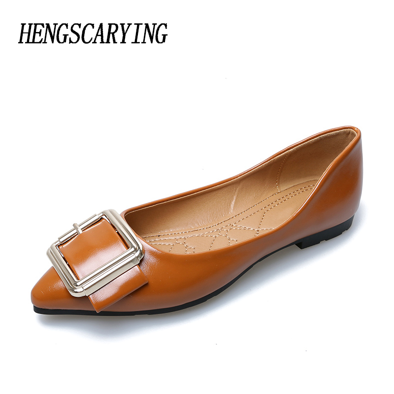 HENSCARYING Brand Genuine Leather women 2018 Elegant Ballet Flats Pointed Toe British Style Flat Plus Size Slip On Loafers Shoes odetina 2017 new women pointed metal toe loafers women ballerina flats black ladies slip on flats plus size spring casual shoes