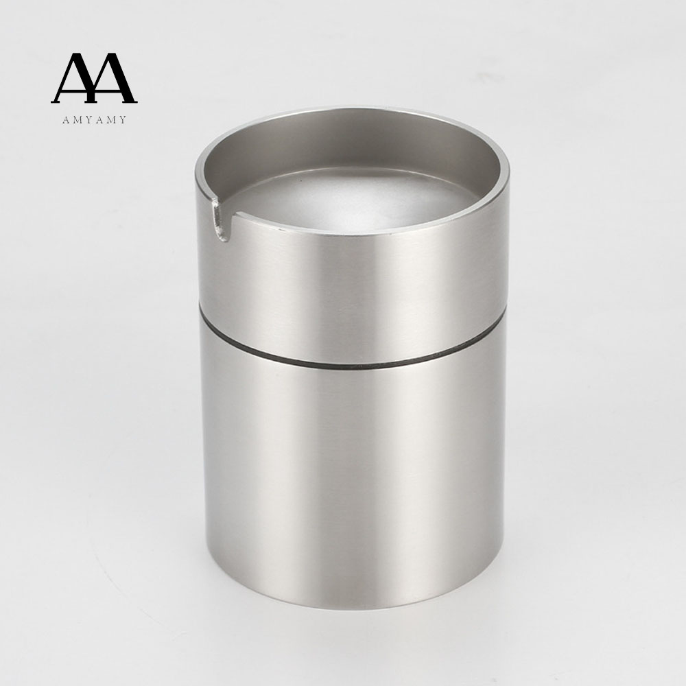 AMYAMY New Style Luxury Car Auto Stainless Steel Ashtray Windproof Cigarette Cigar  Storage Cup Combined Type