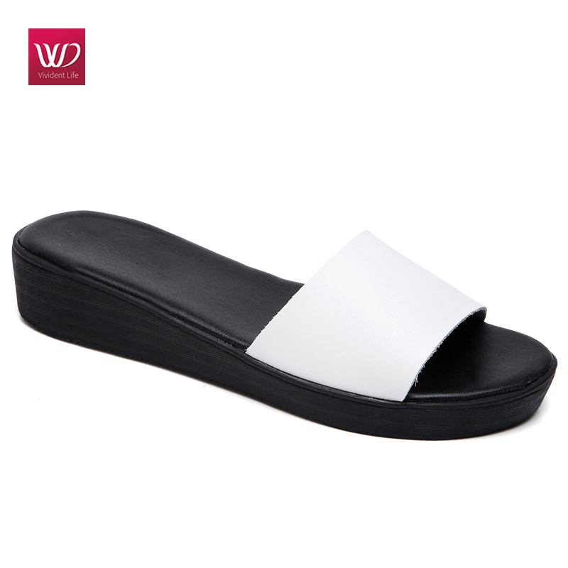 Vivident Genuine Leather Flip Flops Leather Sandals Women Slippers Flats Platform Wedge Heels -3656
