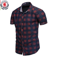 FREDD MARSHALL 2019 New Summer Short Sleeve Denim Shirt Men Casual Business Plaid Shirts Male Brand Clothes 100% Cotton 55891