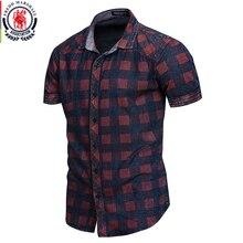 FREDD MARSHALL 2019 yeni yaz kısa kollu Denim gömlek erkekler rahat iş ekose gömlek erkek marka giyim 100% pamuk 55891