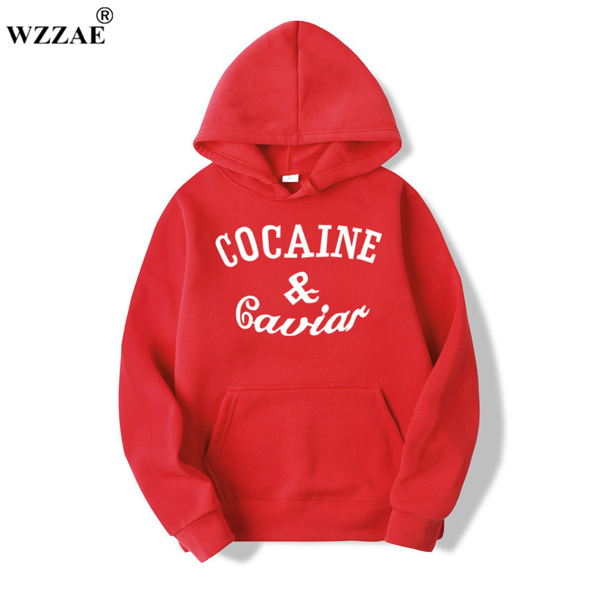 WZZAE 2018 New Cocaine Caviar Hoodies Men Hip Hop Hoodies Sweatshirts Fashion New Design Men's Casual Brand Clothing Size S-XXXL