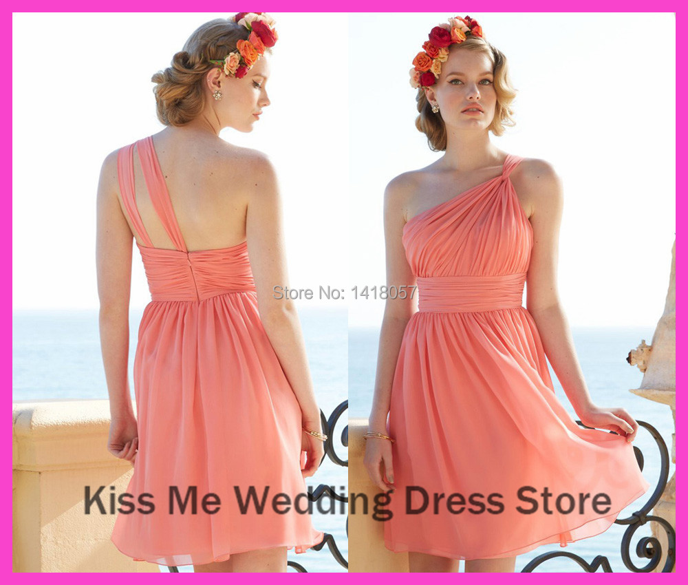 coral peach bridesmaid dresses one shoulder pleat short wedding guest dress for party over 2015 vestido