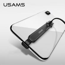 USAMS 90 درجة كابل يو اس بي آيفون 5 5s SE X 6 6s 7 8 كابل شحن سريع لباد USB كابل الشاحن كابل بيانات آيفون X