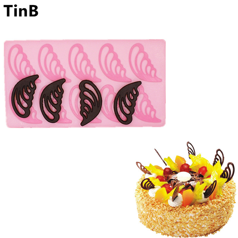 New DIY Cake Decorating Tools Hollow Angel Wings Shape Silicone Chocolate Mold Cake Molds Kitchen Bakeware Chocolate Tools