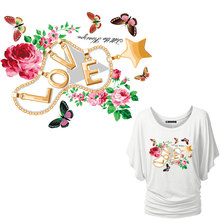 beautiful butterfly flower patches heat transfer iron on love letters stickers household irons necklace sequined applique