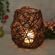 Home Rattan Candleholder Retro Candlestick Christmas Wooden Antique Candleholder Vintage Wedding Candle Holder Stand Tealight(China)
