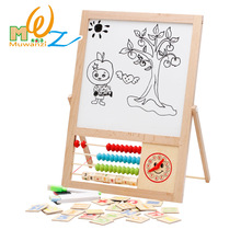 Cheaper Infant Shining Children's Drawing Board  Wooden Jigsaw Puzzle Double-sided Magnetic Tablet Multi-function Double-sided Sketchpad