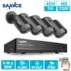 SANNCE HD 8CH 1080N 720P CCTV System HDMI AHD DVR 4PCS 1200TVL IR Outdoor Night Vision