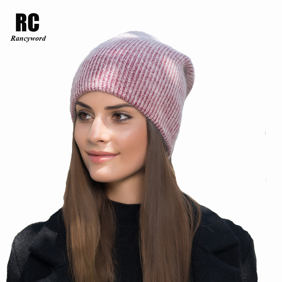 [Rancyword] New Autumn Winter Hats For Women Pompom Beanies Knitting Warm Rabbit Fur Skullies Caps Ladise Hat Gorros RC1222 уличный настенный светильник favourite london 1811 1w