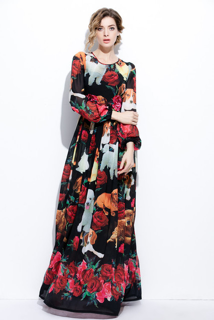 972ea8f9fb6d XXXXL Fashion Plus Size Long Maxi Dress 2017 Summer Women Cute Dog Rose  Floral Print Long Sleeve Maxi Dress Extra Large Clothing