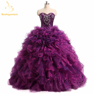 Quinceanera Dresses 2018 Ball Gown New Sexy Sweetheart Neck Beading Crystal Ruched Floor Length Dress For 15 Years Vestido QA318(China)