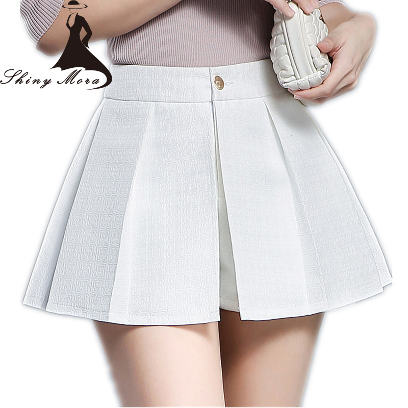 SHINYMORA 2017 New Arrival Women   Shorts   Skirts High Waist Elegant   Short   OL Ladies Fashion High Quality Mini Skirts Jupes M-4XL