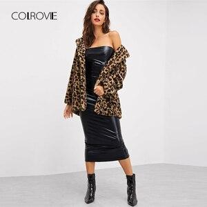 Image 4 - COLROVIE הדפס מנומר Streetwear חורף פו פרווה מעיל מעיל נשים בגדי 2018 סתיו אופנה משרד חם גבירותיי הלבשה עליונה