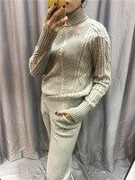 2018 шерсть ограниченное качество женские кашемировые комплект из 2 предметов пуловер с воротником вязаный нитки свитер + мотобрюки мод