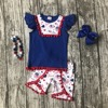 Baby Girls Summer Clothing Cotton Boutique I Love America Liffle Fur Royal Outfits Girls July 4th
