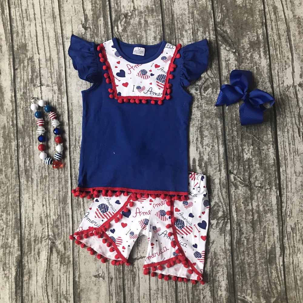 baby girls Summer clothing cotton boutique i love America Liffle fur royal outfits girls July 4th clothing match accessories