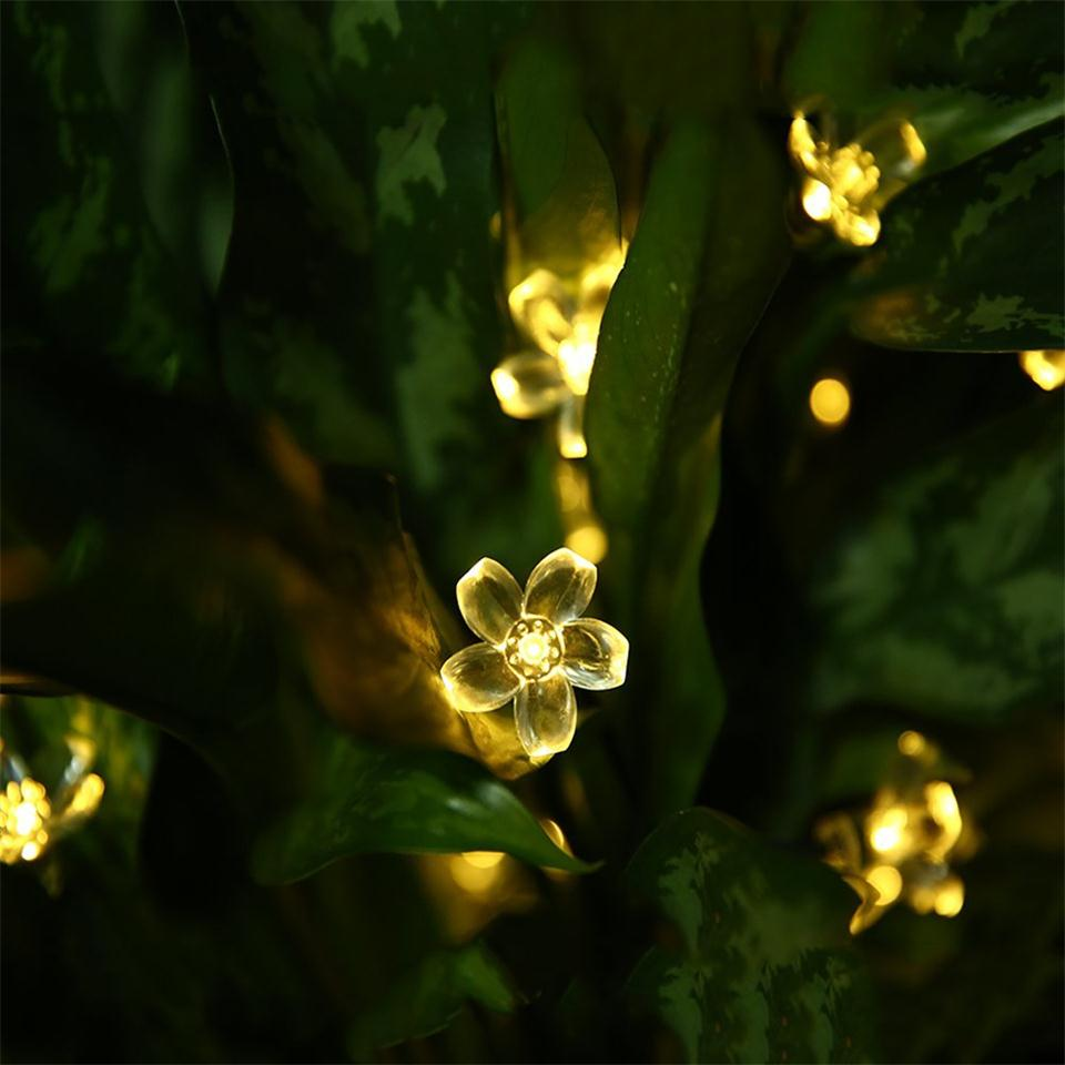 12/22M Solar Fence Lights String Garland Light Luces Led Decoracion Outdoor Lawn Patio 100 Sakura flowers lampa solarna Lighting