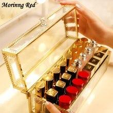 Благородный роскошный стеклянный ящик для хранения губной помады