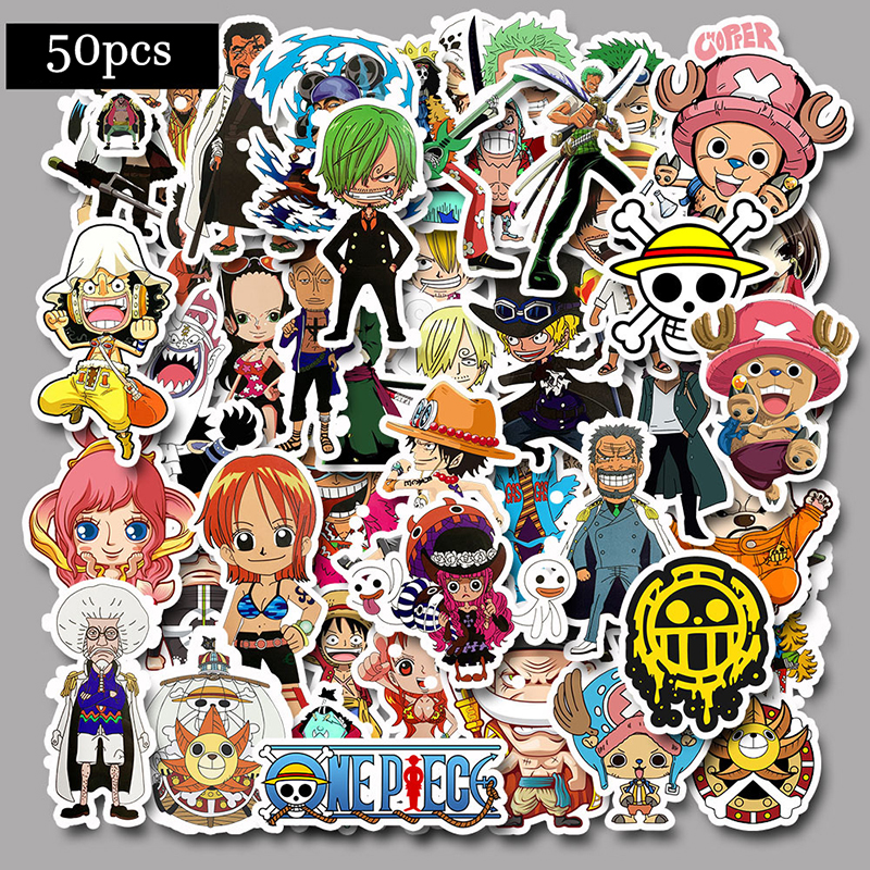 50pcs One Piece Stickers For Snowboard Laptop Luggage Car Fridge DIY Styling Vinyl Home Decor Pegatina