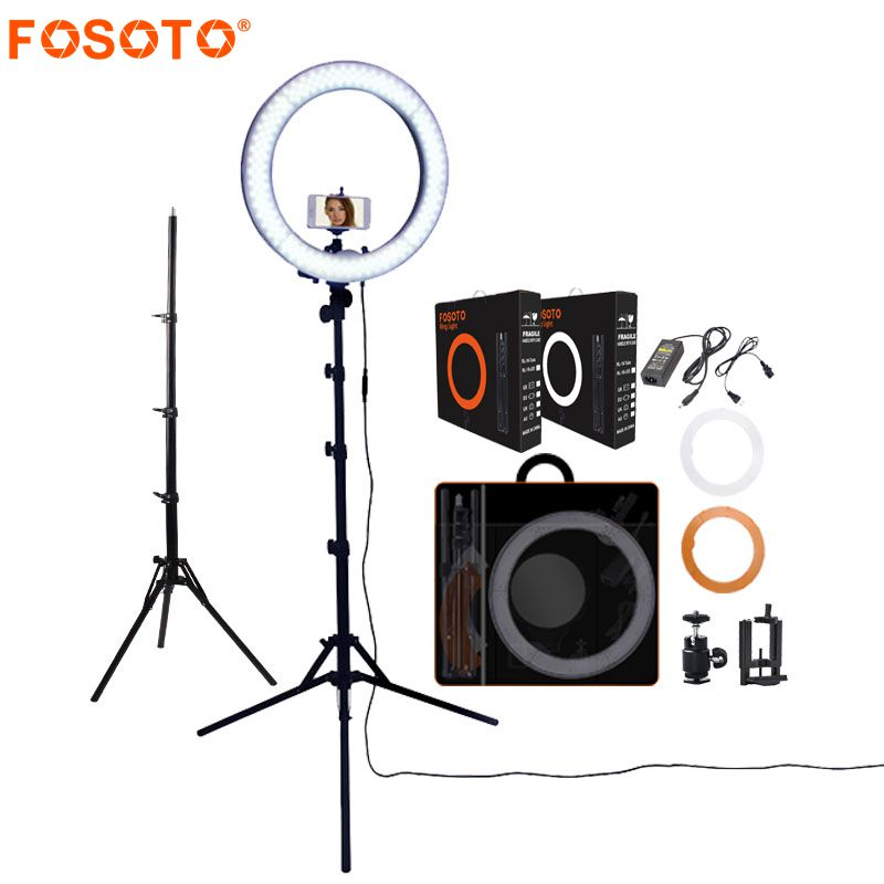 FOSOTO RL-18 photography lighting Dimmable 55W 5500K Ring Lamp Camera Photo Studio Phone Video Led Ring Light With Tripod StandFOSOTO RL-18 photography lighting Dimmable 55W 5500K Ring Lamp Camera Photo Studio Phone Video Led Ring Light With Tripod Stand