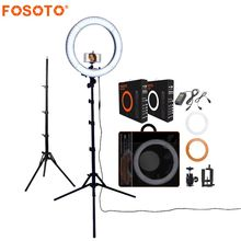 FOSOTO RL-18 photography lighting Dimmable 55W 5500K Ring Lamp Camera Photo Studio Phone Video Led Ring Light With Tripod Stand samtian 2sets led video light with tripod dimmable 3200 5500k 600 leds panel lamp for studio photo photography lighting