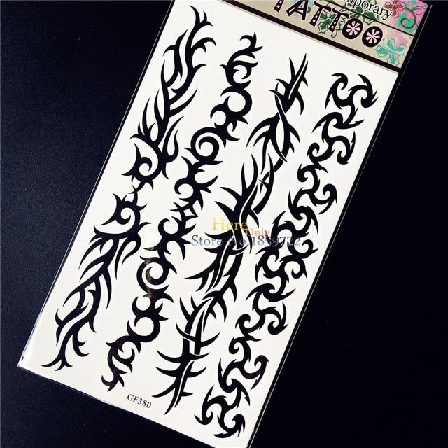 Duri Gelang Stiker Tato Temporer Henna Hitam Pria Wanita Lengan Kaki