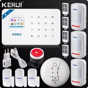 Image 1 - מקורי Kerui Wifi GSM מעורר W18 App בקרת בית פורץ LCD מסך מגע מעורר אבטחת בית אזעקה מערכת עשן גלאי