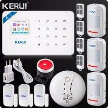 Kerui alarma GSM para el hogar sistema de alarma de seguridad para el hogar, Detector de humo con pantalla táctil LCD antirrobo, Control por aplicación W18, Original