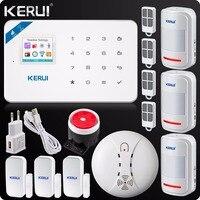 Wifi Alarm W18 WIFI GSM SMS Home Burglar LCD GSM SMS Touch Screen Alarm Home Security Alarm System Wireless Smoke Detector