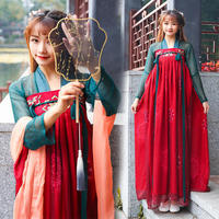 2019 New Hanfu Women Chinese Folk Dance Costumes Qing Tang Suit Dynasty Costume Chinese Hanfu Traditional Chinese Dress DWY1161