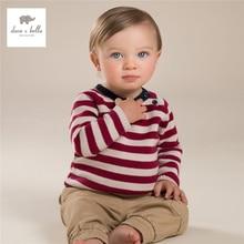 DB4043-B дэйв белла осень мальчики красный полосатый свитер детские одежда детская Рождество свитер