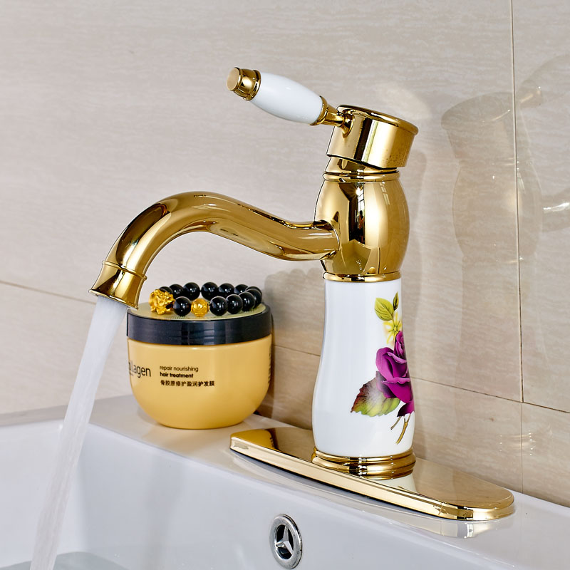 Newly Style Golden Color Solid Brass Bathroom Sink Faucet Single Handle Mixer Tap with 10 inch Cover Plate modern style golden color bathroom sink faucet single handle mixer tap solid brass deck mounted