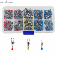 150pcs Small Style Plastic Head Fishing Swivel With Interlock Snap Space Bean Saltwater Fishing Swivel Connector Set With Box
