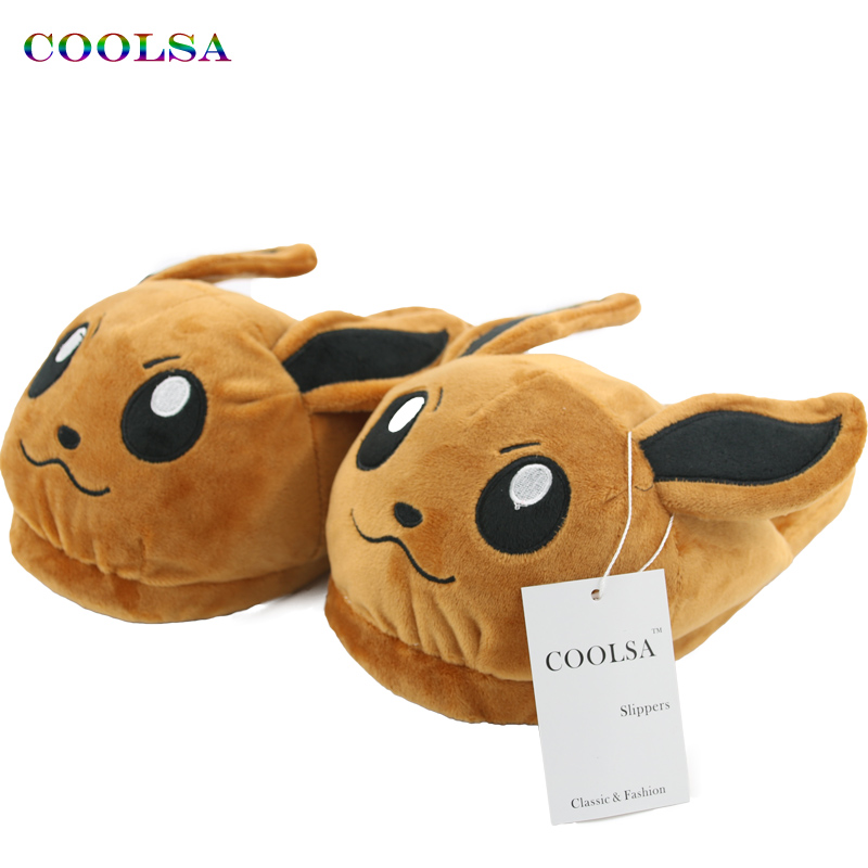 COOLSA New Winter Plush Cotton Slippers Warm Cute Cartoon Slides Pokemon Animal Soft Warm Home Slipper Unisex Casual Funny Shoes 3d minions slippers woman winter warm slippers despicable minion stewart figure shoes plush toy home slipper one size doll