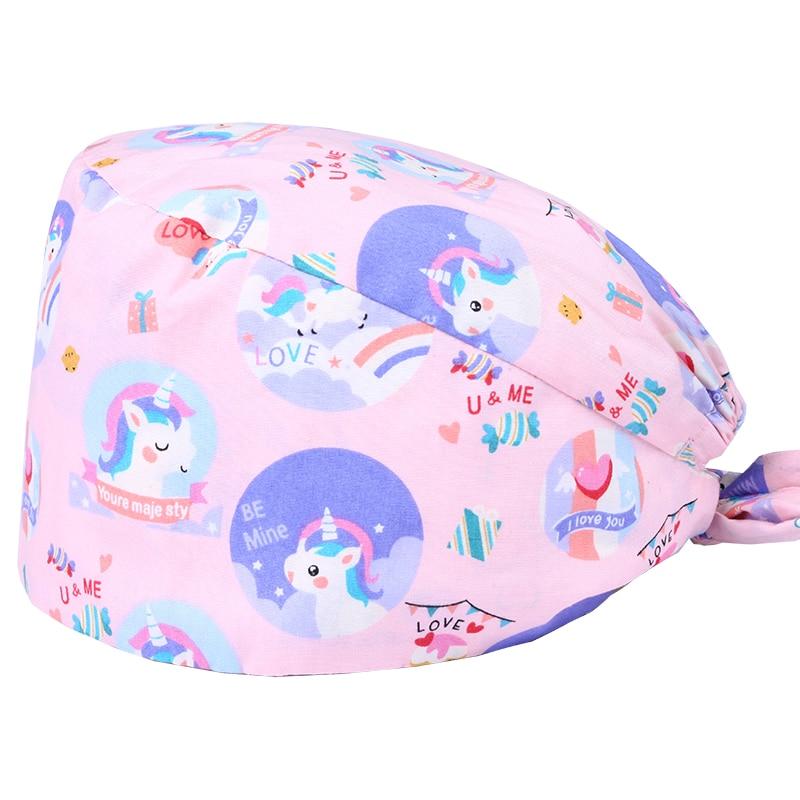 Unicorn Surgical Caps Scrub Hats 100% Cotton Womens Nurse Work Hat Hospital Operating Room Doctor Caps Dental Clinic Scrub Caps