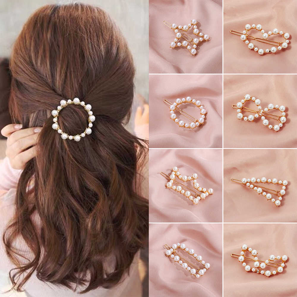 2019 Fashion Korea Pearl Hair Clip Snap Barrettes Women Girl Handmade Pearl Hairpins Ponytail Holder Stylish Hair Accessor