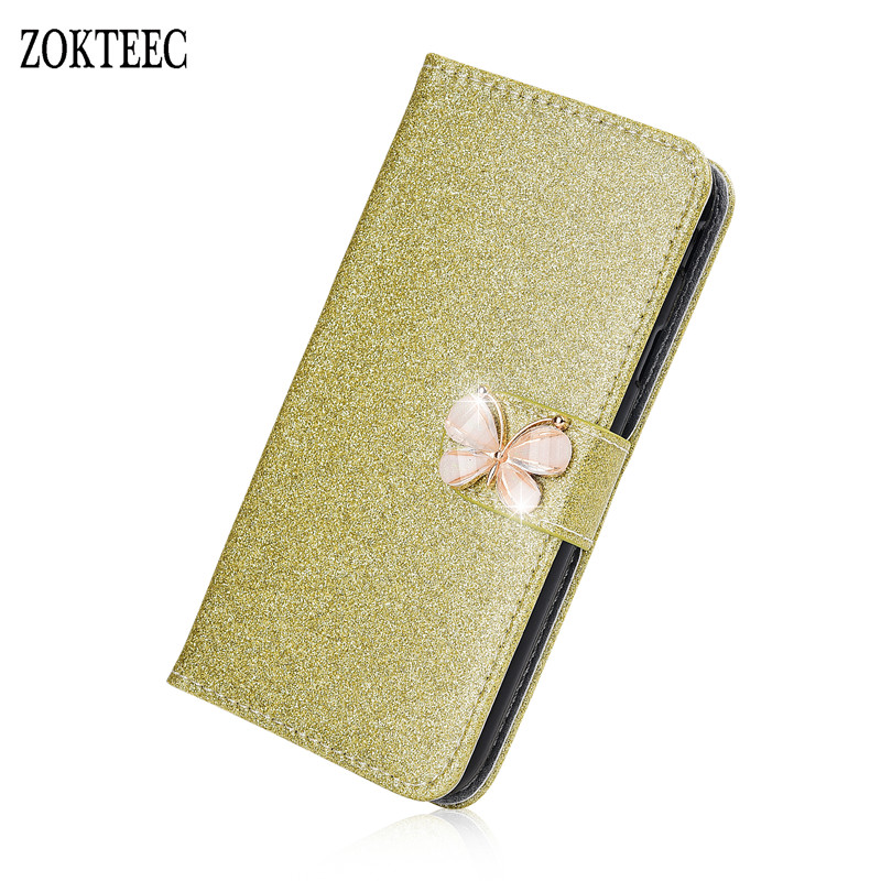 ZOKTEEC New Fashion Bling Diamond Glitter PU Flip Leather phone Cover Case For ZTE Blade V8 mini V8 V9 Case With Card Slot in Flip Cases from Cellphones Telecommunications