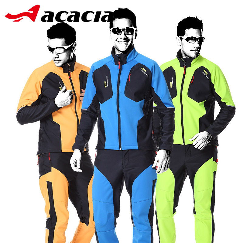 ACACIA Winter Fleece Bicycle Cycling Jersey Sets For Men Long Cycle Sleeve Jacket Pant Jersey Set Cycling Clothing Suits