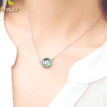 2e998fe2141b Collares y colgantes de espuma de sirena de hoja de mosca para mujer 925  Plata de Ley 100% joyería de moda para dama Envío Directo