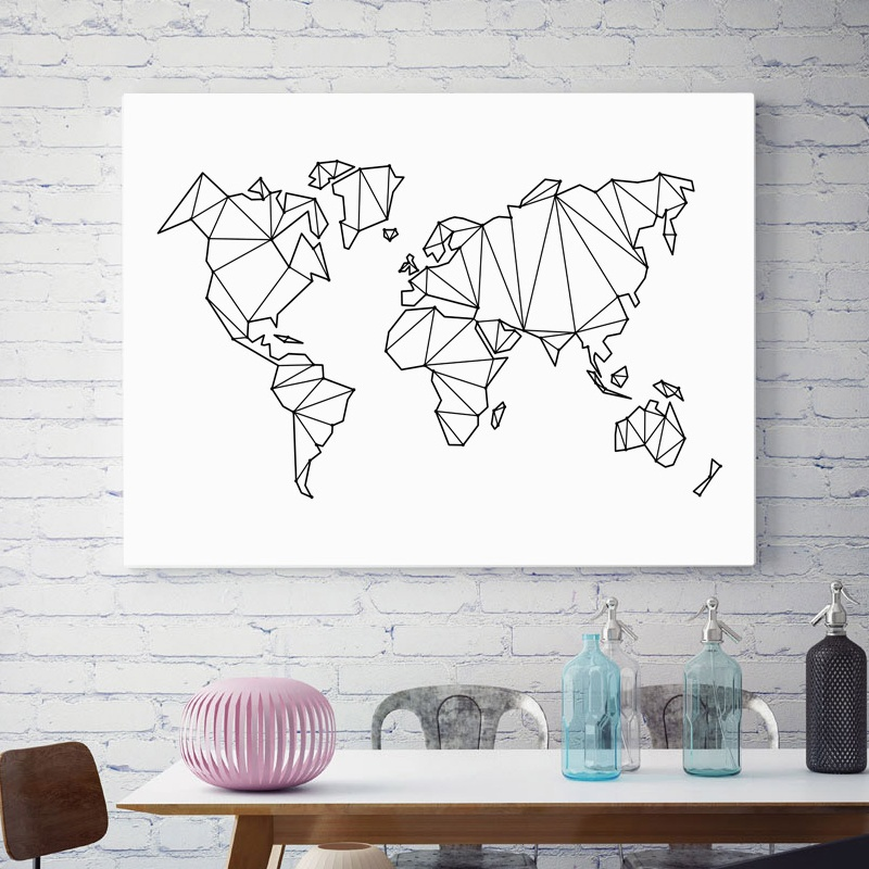 Abstract Geometric World Map Canvas Painting Nordic Posters And Prints Wall Art Print Black White Wall Pictures For Living Room in Painting Calligraphy from Home Garden