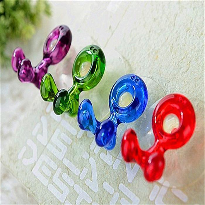 Durable Cute Home Suction Cup Wall-mounted Red, Purple, Green, Blue Toothbrush Holder image